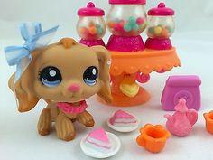 Littlest Pet Shop RARE Tan Cocker Spaniel 1716 w Candy Dispenser Accessories   eBay