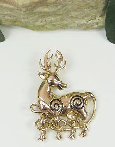 Fibel, Brosche Gewandspange Keltischer Hirsch, Bronze,NEU,Kelten,Viking