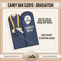 Candy Bar Sleeve - Graduate - Male - Instant Download Printable - Beginner Project - HEBER_523 by HollysHandmadeGifts on Etsy