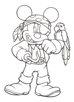 Pirate Mickey Coloring Sheet #Pirates #MickeyMouse #ColoringSheets #People #Disney