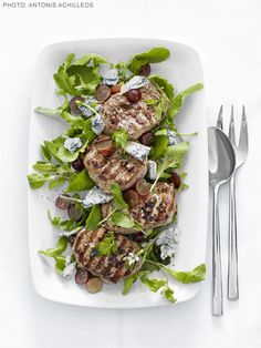 Grilled Pork with Arugula-and-Grape Salad from FoodNetwork.com