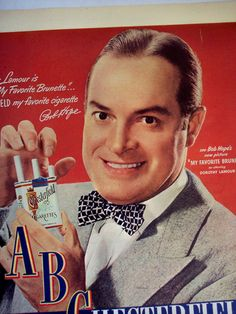 1947 Cigarette AD BOB HOPE Chesterfield Cigarettes original advertisement on Etsy, $7.99