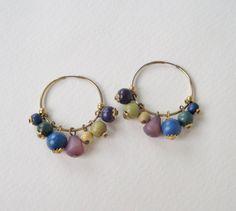 Vintage 80s Boho Rustic Goldtone Dark Blue Green Purple Wooden Beaded Hoop Earrings by ThePaisleyUnicorn, $4.00