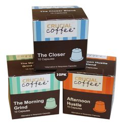 "30 Coffee Capsules for Most Nespresso Machines, Blends: ""The Afternoon Hustle,"" ""The Closer,"" and ""The Morning Grind"" by Crucial Coffee"