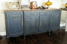 1800's French Oak Buffet Finished in Shabby Custom Color, Dusk, distressed and Sheer VAX. #ShabbyPaints #PiecesoftimeFF