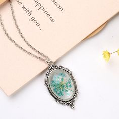 Alloy Natural Dried Flower Epoxy Pendant Necklaces from Pandahall.com