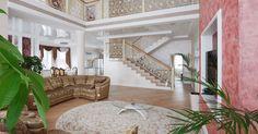 Интерьер гостиной с видом на лестницу