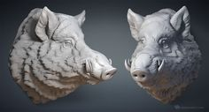 Wild Boar head digital sculpture. 3D model for CNC, 3d printing, mold making, Jewelry design. Solid 3D model: http://www.turbosquid.com/FullPreview/Index.cfm?ID=1043611&seo=0&referral=voronart