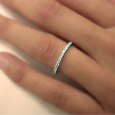 Full Round Ring - Micro Pave 925K Silver with Swarovski Stone - Wedding Band - Engagement Ring - Thin Wedding Band - Ring