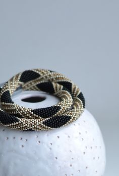 Black and Gold Bead Crochet Rope Beaded Necklace Classic Geometric Seed Beads Design Beaded Neckpiece Modern Jewelry Long Necklace