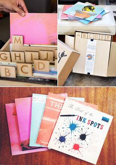 hi-fi design.|| vinyl record dividers, pictured in my favorite font. too bad they're stupidly expensive.