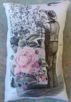 Gardener Pillow with Pink Rose and Bird by Maisonvogue on Etsy, $15.00