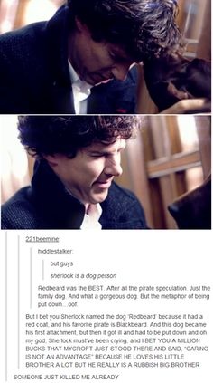 When Mycroft mentioned Redbeard to Sherlock during John and Mary's wedding. I imagine that that was a subtle reminder that if you form emotional attachments to things, those very same things will shatter you in the end.
