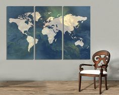 3 panel split abstract world map canvas print15 deep frames 3 panel split abstract world map canvas print15 deep framestriptych art for homeoffice wall decor interior design triptych art office wall decor gumiabroncs Image collections