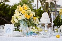 White Rose Cake — Huntington Harbour Bay Club. flowers by french buckets @ frenchbuckets.com
