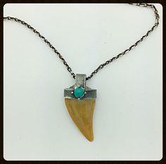 Handmade Silver Pendant Shark Tooth Fossil, Turquoise Garnet Citrine  | eBay