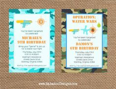 10th Birthday Parties, Birthday Party Themes, Camo Birthday, Birthday Ideas, Summer Fun For Kids, Summer Pool, Water Gun Party, Splash Party, Army Party