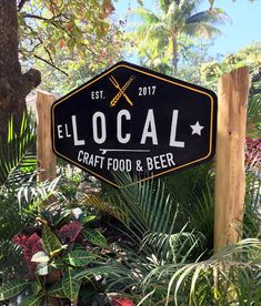 Logo design and carved and painted wood sign for El Local - craft food and beer, Nosara Costa Rica Nosara, Painted Wood Signs, Costa Rica, Logo Design, Beer, Carving, Crafts, Food, Root Beer