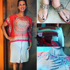 """""""#thrifted from #goodwill of #overlandparkks camisole and #chiffonshirt #mygoodwillfind #goldjewelry #handmadejewelry in #India  #bandolino zipper skirt…"""""""