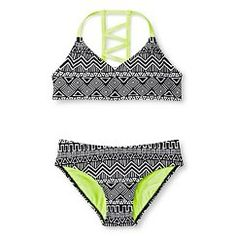 Girls' 2-Piece Tribal Design Midkini Top Bikini Set Circo Black - Circo™