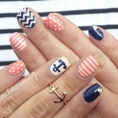 16 Nautical Anchor Nail Art Designs for Summer Anchor Nail Designs, Nautical Nail Designs, Anchor Nail Art, Nautical Nail Art, Cute Nail Designs, Nautical Anchor, Love Nails, Pretty Nails, My Nails