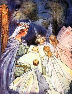 Vintage Sleeping Beauty Illustration--Queen and Fairies