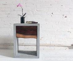 HomeMade Modern DIY Concrete Walnut Nightstand
