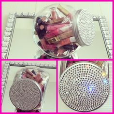 "Pretty blinged out ""candy jar"" holding my idea of candy, lots of pretty lip glosses! I bought the jar at @HomeGoods for $5.00 @ then added $30.00 worth of #Swarovski crystals to it, ha!"