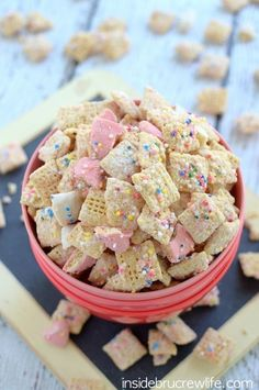 Channel your inner 4-year-old and whip up this so-easy Frosted Animal Cookie Muddy Buddies snack mix. Go heavy on the animal crackers. Seriously —how have we never thought of this genius snack combo before? Click through for this and more of the best Puppy Chow recipes.