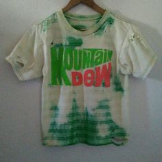 Mountain Dew T Shirt / Crop Tee / Half Top / Logo / Graphic TShirt / Festival / Grunge / RockNRoll / Distressed / Cute / Soda / Midriff Top