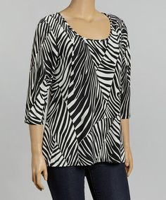 Another great find on #zulily! Black & White Zebra Keyhole-Back Top - Plus by Avital #zulilyfinds