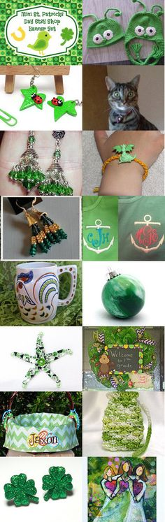 St. Patties Green ~~~~ Group 4 by D' LaGrace on Etsy--Pinned with TreasuryPin.com #Etsyvintage #Estyhandmade #giftideas #springfinds