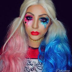 Harley Quinn ❤  Product details:  @makeupforeverofficial ultra HD foundation in R330, shadows in ME-930, I-918, Artist Plexi-Gloss in 400 and lashes in C-801 @sugarpill shadow in dollipop, loose pigment in decora and lashes in heiress. @sigma_pro blush in Modesty and liquid liner in line ace  @fxcosplay_ FAB paints in white, watermelon red, black, white clown cream paint and neutral sett...