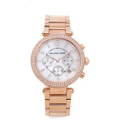 Michael Kors Parker Watch ($270) ❤ liked on Polyvore featuring jewelry, watches, rose gold, bezel watches, water resistant watches, pink gold jewelry, rose gold watches and michael kors jewelry