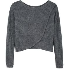 Bodkin / Quark Sweater (€275) ❤ liked on Polyvore featuring tops, sweaters, shirts, jumpers, women, crewneck sweaters, crop top, crop shirt, grey crop top and wool sweaters