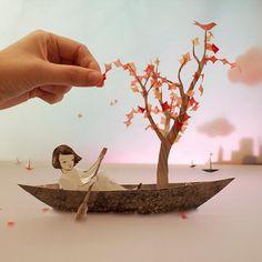 Japanese Paper Art. Possible paper landscapes for stop motion film.