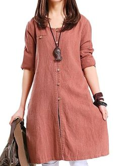 Round Neck Button Closure Long Sleeve Straight Dress  on sale only US$30.16 now, buy cheap Round Neck Button Closure Long Sleeve Straight Dress  at lulugal.com