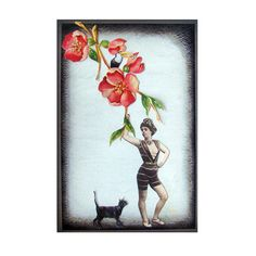 cat art pet collage vintage home decor shabby chic woman flower red tagt team (25.00 USD) by PetCollage