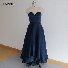 Vysoká nízká družička šaty krátký přední dlouhé zadní Navy modré svatební  šaty strana formální šaty c2988fe57ec