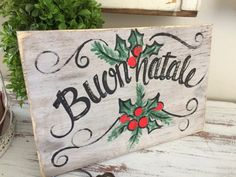 Buon Natale wooden sign italian christmas sign by MelanieLupien
