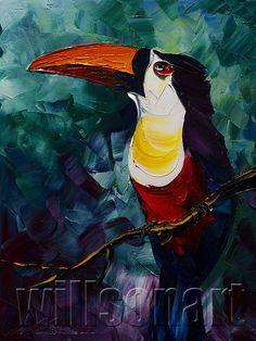 Modern Animal Painting Toucan Oil Painting Textured por willsonart
