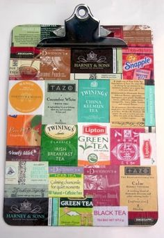 DIY Mod Podge clipboard with teabags - maybe just fun scraps... I have 20+ junky clipboards this might be a fun when I'm finished activity.