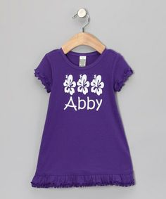Take a look at this Purple Personalized Hibiscus Dress - Infant, Toddler & Girls by Bourbon Street Boutique on #zulily today!