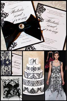 Black and White Damask Wedding Inspiration Board…