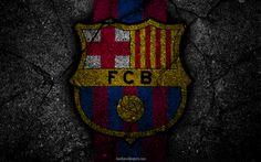 Scarica sfondi Barcellona, logo, FCB, La Liga, calcio, football club, LaLiga, grunge, FC Barcelona