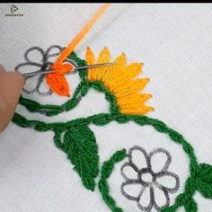 hand embroidery border design for dress Ribbon Embroidery Tutorial, Border Embroidery Designs, Hand Embroidery Videos, Embroidery Flowers Pattern, Hand Work Embroidery, Creative Embroidery, Crewel Embroidery, Japanese Embroidery, Vintage Embroidery
