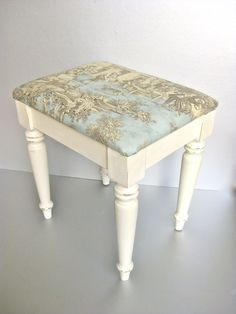 French Country Bench Vintage Bench Toile Cushioned Bench Shabby and Chic Cottage Chic Paris Apartment Ivory Bench Aqua. $80.00 via Etsy.