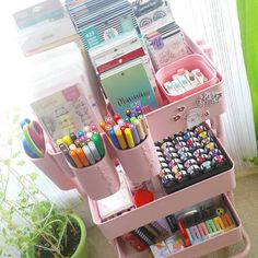 Found some storage peace with my new blush pink lexington cart from Just enough room for my frequently used planner… Planer Organisation, Craft Closet Organization, Craft Room Storage, Kids Storage, Craft Rooms, Stationary Organization, Desk Storage, Study Room Decor, Cute Room Decor
