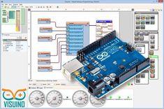 Visuino - Visual dataflow development environment for Arduino. Program your Arduino boards fast and easy! Arduino Clone, Diy Arduino, Arduino Beginner, Arduino Led, Arduino Board, Arduino Programming, Linux, Programming Languages, Robotics Projects
