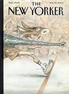 """The New Yorker - Monday, November 20, 2000 - Issue # 3913 - Vol. 76 - N° 35 - Cover """"By a Nose"""" by Peter de Sève"""